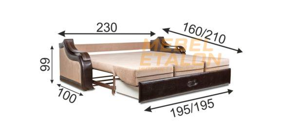 размеры дивана Волна 3
